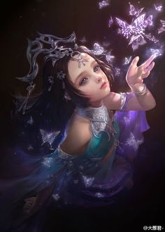 The Art Of Animation, Da congjun Fantasy Girl, Chica Fantasy, Fantasy Women, Girl Pose, Painted Rock Animals, Art Graphique, Chinese Art, Belle Photo, Fantasy Characters