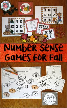 These fun and engaging partner or small group number sense games with fall themes for preschool, kindergarten, and first grade, are played using cards showing 8 different ways to represent a number. These ways are the number, number word, ten frames, dice, dominoes, tally marks, fingers, and base ten blocks. Skills covered are number recognition, number word recognition, subitizing, one more, and one less. $