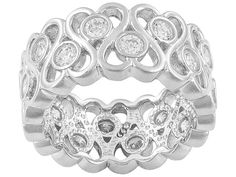 Bella Luce (R) 3.24ctw Round Rhodium Plated Sterling Silver Band Ring