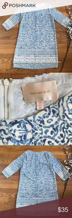 Skies are blue patterned shift dress size medium Cute shift dress by skies are blue! Pretty blue pattern. Hidden back zip. Size medium. Lined. EUC Skies Are Blue Dresses