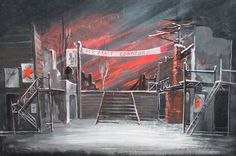 Russian Theatre Scene Stage Design Vintage Gouache Painting #Expressionism