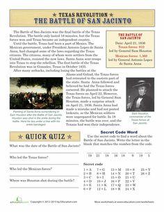 Worksheets: The Battle of San Jacinto