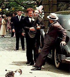 The Godfather - one of my favourite moments, Sonny dropping notes on the ground to pay the camera he just broke #GangsterMovie #GangsterFlick