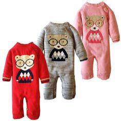 Fashion Winter New Newborn Baby Knitting Rompers Cartoon bear Jacquard High Quality cotton Baby Costume baby boy babygirl romper