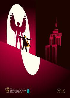 Malika Favre Birdman - Brochure cover artwork of the British Academy Film Awards for the 2015 ceremony. Art Pop, Graphic Design Illustration, Illustration Art, Award Poster, Art Actuel, Kunst Poster, British Academy Film Awards, Brochure Cover, Alternative Movie Posters