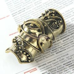 Antique Bronze Armor Cage Joint Knuckle Hinged Long Full Finger Ring Gothic Punk #NA