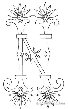 Free Monogram for Hand Embroidery: N Fan Flower