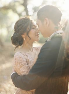 Beautiful moment before their kiss Jen Huang Photography Pronovias Wedding Gown Camellia Floral Design Chiali Meng Artistry Davia Lee Events Oak Grove Wedding in Santa Barbara