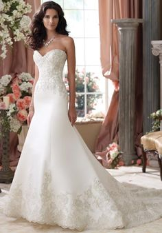 David Tutera gown with a-line silhouette and sweetheart neckline, including beaded and lace embellishments I Style: 114279 I https://moncheribridals.com/