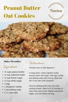 Flourless Dessert Recipe 1 of 5 - Peanut Butter Oat Cookies Flourless Dessert Recipes, Gluten Free Desserts, Delicious Desserts, Vegan Chocolate Cupcakes, Black Bean Brownies, Oat Cookies, Baking Soda, Peanut Butter, Good Food