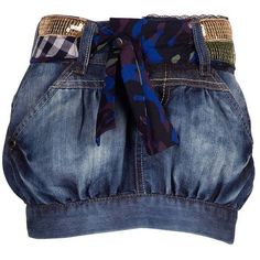 Desigual Jupe Jean Boule Navy by None, via Polyvore