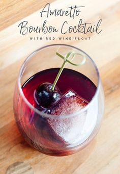 Amaretto Bourbon Cocktail with Red Wine Float - Amaretto and bourbon mixed together with a little simple syrup and a red wine float. Wine Mixed Drinks, Wine Drinks, Alcoholic Beverages, Bourbon Cocktails, Cocktail Recipes, Yummy Drinks, Yummy Food, Yummy Recipes, Keto Recipes