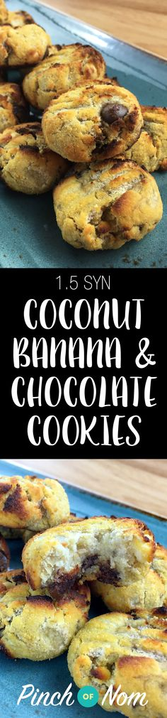 Low Syn Coconut, Banana & Chocolate Chip Cookies Slimming World Slimming World Deserts, Slimming World Puddings, Slimming World Recipes Syn Free, Slimming World Diet, Slimming World Cookies, Slimming Eats, Banana Chocolate Chip Cookies, Chocolate Bars, Healthy Deserts