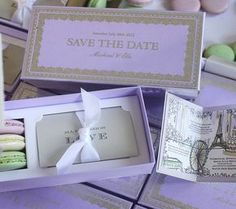 Ladurée Inspired Wedding Timeline Save the Dates in BRIDES UK Magazine by Momental Designs. Engraved and hand painted save the dates box with macaroons.