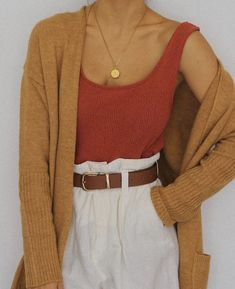 4d6dc68e0c54 high rise white pants with a red blouse and burnt orange cardigan. Visit  Daily Dress