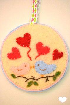 Birds in Love  felt pendant for Valentine's by TheMemis on Etsy, $30.00