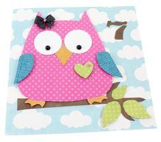 Owl craft, not sure what the 7 is for Adult Crafts, Crafts For Kids, Arts And Crafts, Bird Crafts, Paper Crafts, Class Art Projects, Ribbon Projects, Owl Templates, Owl Card