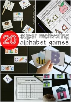 20 fun alphabet games for kids! Fun ways to teach letter names, letter sounds, ABC order and letter writing. I LOVE the handwriting activity sheets in this set!