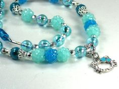 Hello Kitty Necklace Young Childs Blue Hello Kitty with Shamballa Type Beads & Blue Glass Flash Beads with a Darling Hello Kitty Crystal & Hearts Charm by Chris of ChildWithStyle, $18.00