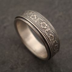 Floral Wedding Band in White Gold by DownToTheWireDesigns on Etsy, $550.00