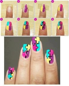 Bright, Neon, Summer, Multi-color free hand nail art tutorial / How to: Puzzle design
