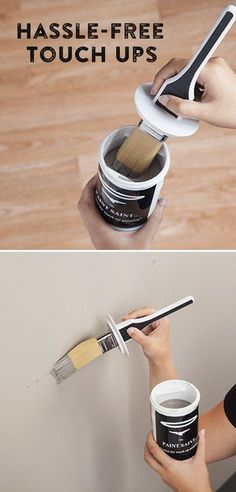 A high-quality brush is built into the lid of this airtight paint can, making touch-ups and paint storage easy.