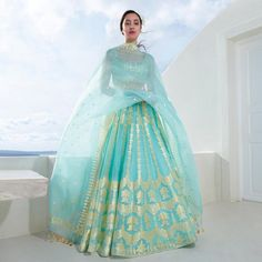 A light pocketed silk organza lehenga that teases the winds, playfully asking you to give in. 💫 Alethi Lehenga (seafoam) Handwoven in… Indian Bridal Outfits, Indian Fashion Dresses, Dress Indian Style, Indian Wear, Mehendi Outfits, Bridal Dupatta, Designer Bridal Lehenga, Fashion Designer, Indian Designer Outfits