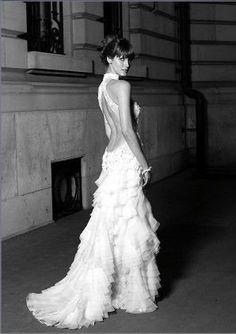 Open Back Wedding Dresses Lace Ruffle Organza