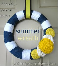 Summer Wreath – navy and yellow – stripes and flowers! (Bet it would be cute with red flowers for a patriotic theme!)