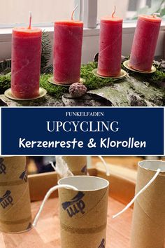 DIY – Kerzen selber machen aus Kerzenresten und Toilettenpapierrollen – DIY – make candles yourself from candle scraps and toilet paper rolls – Advent wreath / sustainable candles with simple instructions / Diy Upcycled Art, Diy Upcycling, Upcycled Furniture Before And After, Diy Pinterest, Advent Wreath, Toilet Paper Roll, Diy Weihnachten, Diy Candles, Ideas Candles