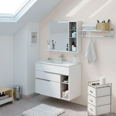 The wall mounted vanities are a must in a small bathroom. This model in white and grey is modern, elegant, unique and spacious. Minimalist Bathroom Furniture, Minimalist Home Decor, Minimalist Living, White Vanity Bathroom, Small Bathroom, Master Bathroom, Nook, Wall Mounted Vanity, Double Vanity