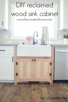 DIY reclaimed wood sink cabinet~ The Created Home