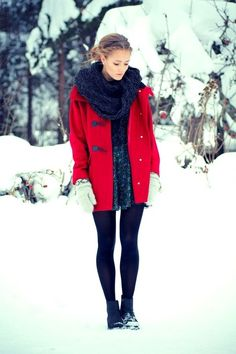 winter charcoal & red