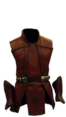 A cunningly designed leather jerkin. Note the shape of the seams at the breast and shoulders.