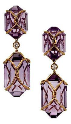 Amethyst, Diamond, Gold Earrings