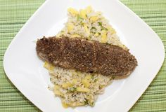 Pecan and Coconut Crusted Tilapia over Tropical Rice