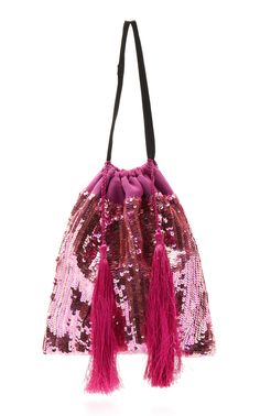 Sac Pochette Attico En Satin Multicolore Avec Des Paillettes, Des Perles Et Des Glands