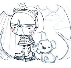 Ilustración Infantil de niña paseando a su perro Kanel, dulce y adorable.