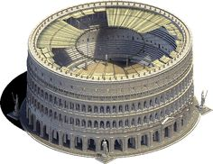 Reconstruction of the Colosseum with the awning cover. Links to more types of Roman architecture. Ancient Rome, Ancient Greek, Ancient Art, Ancient History, Roman Architecture, Ancient Architecture, World History, Art History, Course De Chars