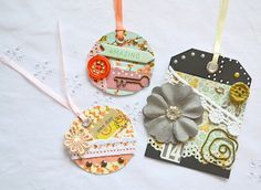 Embellished Tags Decorated Tags Mixed Media by ArtistsCornerShop