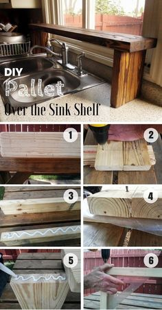 Build an easy DIY over the sink shelf from pallet wood DIY Home Decor Ideas - Industry Standard Desi Easy Woodworking Projects, Diy Pallet Projects, Home Projects, Woodworking Plans, Pallet Ideas, Popular Woodworking, Woodworking Furniture, Projects With Wood, Pallet Projects Instructions