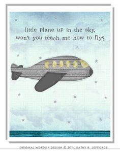 airplane themed nursery decor   Airplane Nursery Art. Grey And Yellow Plane by thedreamygiraffe, $18 ...