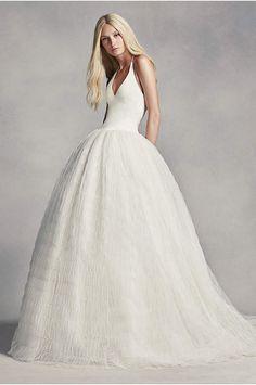 White by Vera Wang Organza Mermaid Wedding Dress - Davids Bridal