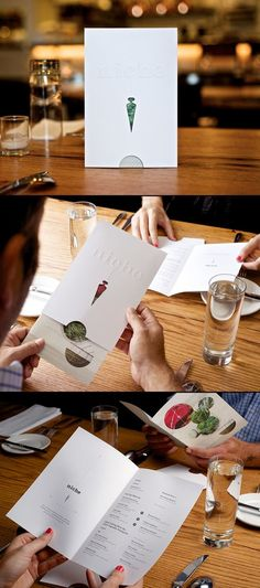 Great new idea for a menu design. I would urge future restaurants to consider this approach and instead, use a synthetic paper for the cover sleeve. This would give protection from staining or damage to the bi-fold menu inside, without having to print on high quality paper for the bi-fold menu itself. Designed by Atomicdust: http://www.atomicdust.com/: