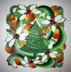 Handmade paper quilling Christmas tree (green and orange), framed in shadow box, christmas gift, wall art by SinyeeCraft on Etsy https://www.etsy.com/listing/208560390/handmade-paper-quilling-christmas-tree