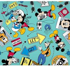 """Springs Creative Disney Mickey Say Cheese Let's Go Explore, 100% Cotton, 43/44"""" Width, Fabric by the Yard   Disney projects   Disney Magic at home   #ad"""