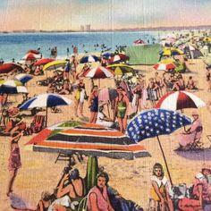 Vintage USA Beach Swimsuit Linen Postcard 1935 Part of C.T. Bathing Scene S-302