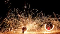 Fire spinning the night away