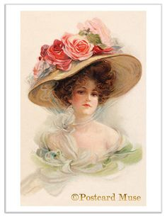 Vintage Lady with Roses on Her Hat... By Artist Unknown... @;}~