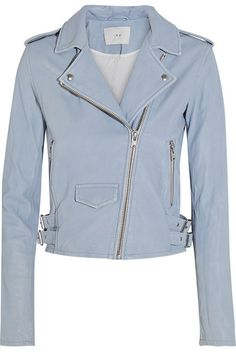 Love this light blue IRO leather jacket for spring